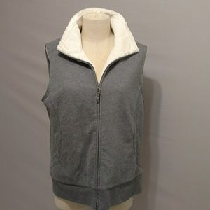 L L Bean Soft Fuzzy Vest Heather Gray White Zip Lg